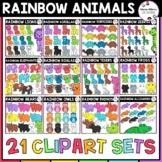 Rainbow Animals Clipart Bundle
