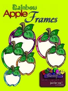 Rainbow Apple Frames Clipart Reg. $1.50 Now only .75 cents!