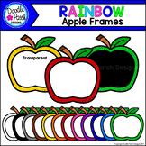 Rainbow Apple Frames Clip Art Set - Doodle Patch Designs