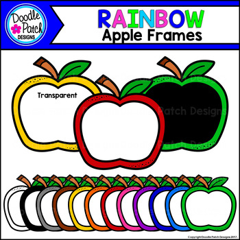 Rainbow Apple Frames Clip Art Set - Doodle Patch Designs