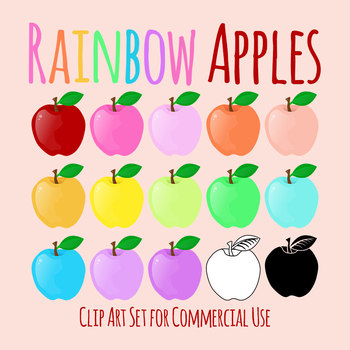 Rainbow Apples Clip Art Set for Commercial Use