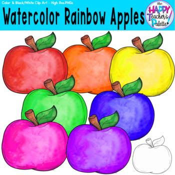 HTP Clip Art Rainbow Apples Watercolor {The Happy Teacher's Palette}