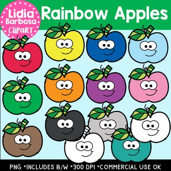 Rainbow Apples Digital Clipart