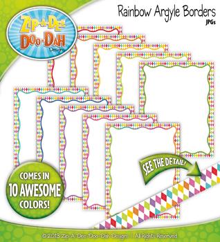 Rainbow Argyle Borders — 10 Colorful Graphics!