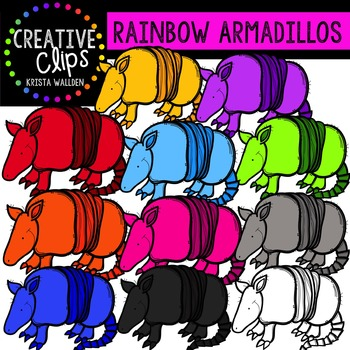 Rainbow Armadillos {Creative Clips Digital Clipart}