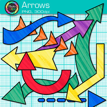 Rainbow Arrow Clip Art {Colorful Pointers for Worksheets & PowerPoint}