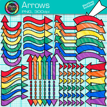 Rainbow Arrow Clip Art {Colorful Pointers for Worksheets &