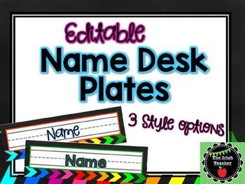 Rainbow Arrow EDITABLE Name Desk Plates