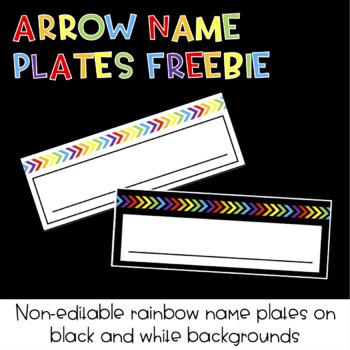 Rainbow Arrow Name Plates FREEBIE : Classroom Decor
