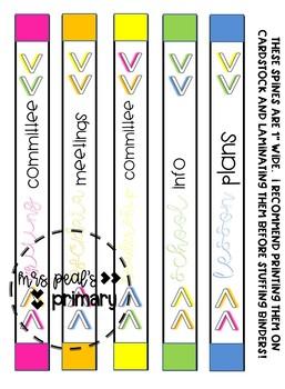 Rainbow Arrowhead Binder Covers and Spines -EDITABLE