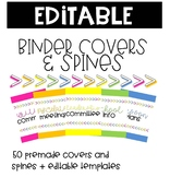 Rainbow Arrowhead Binder Covers and Spines -EDITABLE