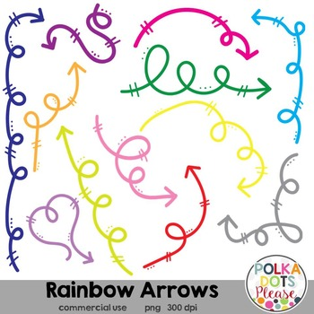 Rainbow Arrows Clipart {Graphics for Commercial Use}