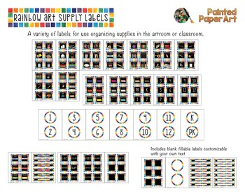 Black Rainbow Art Supply Labels