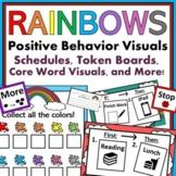 Rainbow Autism Behavior Visuals: Schedules, Token Boards, & More!