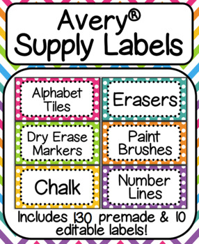 rainbow avery supply labels includes premade editable label