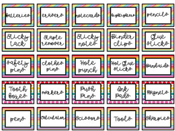 Rainbow BRIGHT Teacher Toolbox Labels