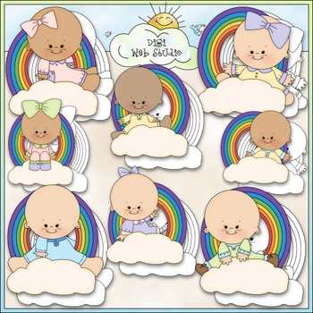 Rainbow Babies 1 - Commercial Use Clip Art & Black & White Images