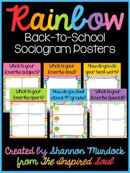 Rainbow Back-to-School Sociogram/Gallery Walk Posters