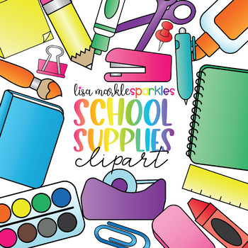 Rainbow Back to School Teacher Toolbox Supplies Clipart