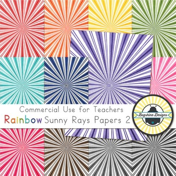 Rainbow Background Papers for Commercial Use {Sunny Rays 2}