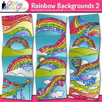 Rainbow Backgrounds Clip Art {Landscape Scenes for Digital Task Cards & Decks} 2