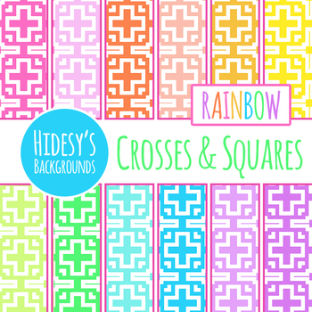 Rainbow Backgrounds Crosses and Squares Digital Paper / Backgrounds / Patterns