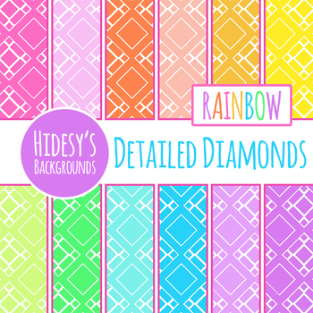 Rainbow Backgrounds - Detailed Diamonds Digital Papers Clip Art Set