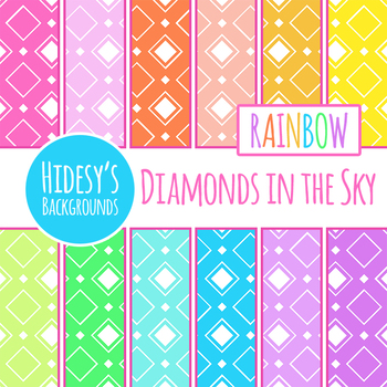 Rainbow Backgrounds - Diamonds in the Sky Digital Papers Clip Art Set
