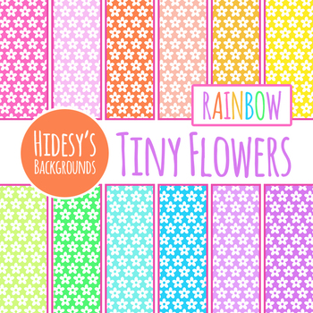 Rainbow Backgrounds / Digital Papers - Small Flowers Clip Art Set
