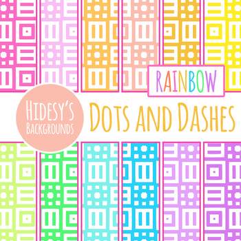 Rainbow Backgrounds - Dots and Dashes Backgrounds / Digital Papers Clip Art