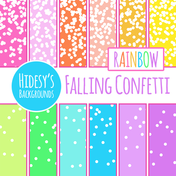 Rainbow Backgrounds - Falling Confetti Digital Paper / Backgrounds Clip Art