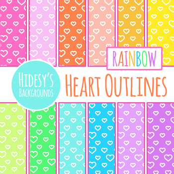 Rainbow Backgrounds - Heart Outlines / Love Digital Papers / Backgrounds