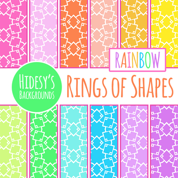 Rainbow Backgrounds - Interlocking Squares Digital Papers Clip Art Set