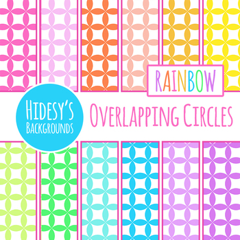 Rainbow Backgrounds - Overlapping Circles Tiles Digital Paper / Backgrounds