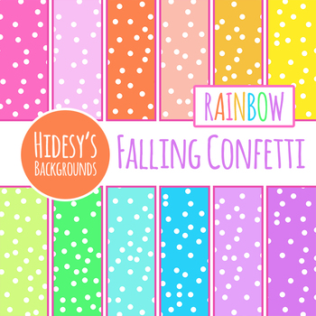 Rainbow Backgrounds - Scattered Dots / Confetti Backgrounds / Digital Papers