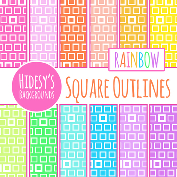 Rainbow Backgrounds - Squares Digital Papers / Backgrounds 2 Clip Art Commercial