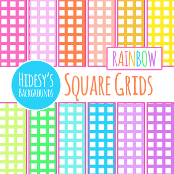 Rainbow Backgrounds - Squares Digital Papers / Backgrounds Clip Art Commercial