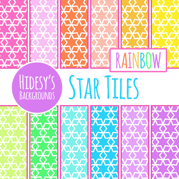 Rainbow Backgrounds - Star Tiles Digital Paper / Clip Art Commercial Use