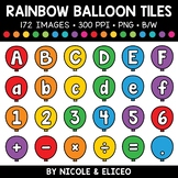 Rainbow Balloon Letter and Number Tiles Clipart