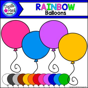 Rainbow Balloons Clip Art Set - Doodle Patch Designs