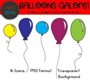 Rainbow Balloons Clipart | Celebrations and Birthday Clipart | Colorful Balloons