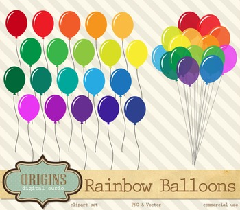 Rainbow Balloons PNG and Vector Clipart