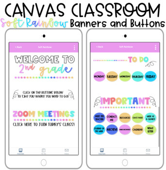 Rainbow Banner And Buttons For Canvas Distance Learning Homepage