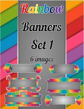 Rainbow Banners Clip Art Set 1