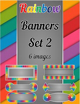 Rainbow Banners Clip Art Set 2