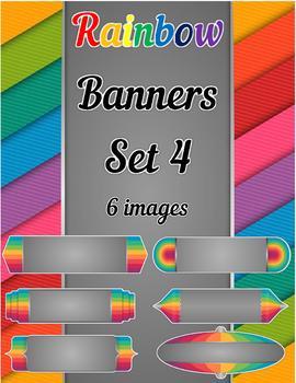 Rainbow Banners Clip Art Set 4