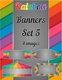 Rainbow Banners Clip Art Set 5