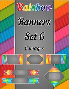 Rainbow Banners Clip Art Set 6