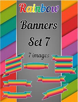 Rainbow Banners Clip Art Set 7