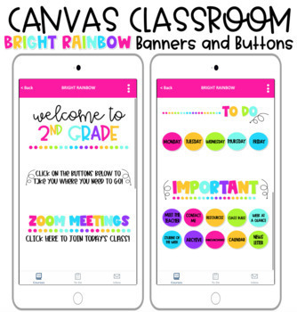 Bright Rainbow Banners and Buttons for Canvas Distance Learning Homepage!